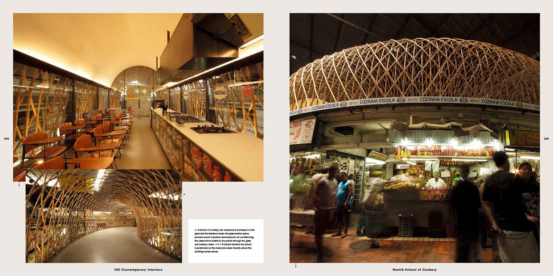 Página do livro Room: Inside Contemporary Interiors(Inglês) 20 outubro 2014, onde o projeto de arquitetura da Cozinha Escola Nestlé é mostrado