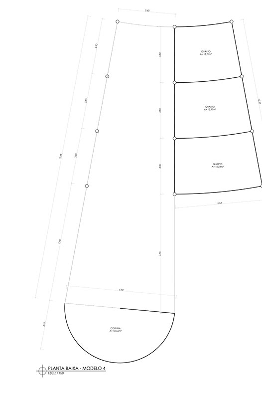 Planta de projeto de habitação em aldeia Yawanawá, do escritório de arquitetura Rosenbaum