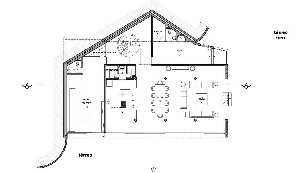 Casa em Campos do Jordão, projeto do escritório de arquitetura Rosenbaum - Planta 1 de 4