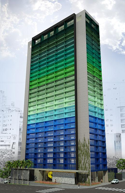 Imagem em 3D do Edifício Brasil, projeto de arquitetura do escritório Rosenbaum em coautoria com Guto Requena