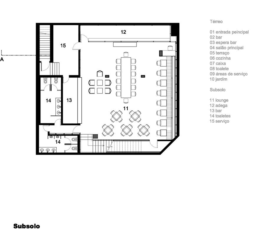 Planta do subsolo do projeto de arquitetura do Restaurante Dalva e Dito, do escritório Rosenbaum