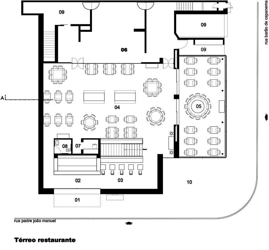 Planta do térreo do projeto de arquitetura do Restaurante Dalva e Dito, do escritório Rosenbaum